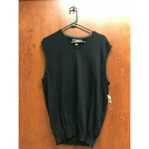 Tasso Elba Mens Black Sweater Vest  Supima Cotton